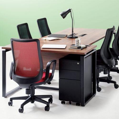 ワークテーブル LPTB-1260 W1200×D600×H720(mm) ブラックカラー粉体塗装スクエア脚テーブル 幕板付き コードホール付き商品画像8