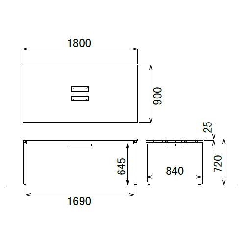 会議用テーブル LPTB-1890 W1800×D900×H720(mm) ブラックカラー粉体塗装スクエア脚テーブル コードホール付き商品画像3