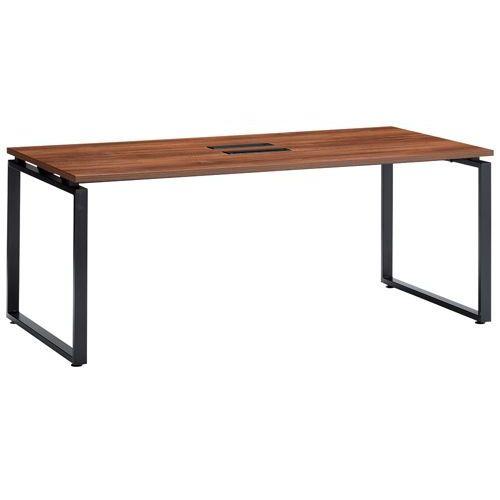 会議用テーブル LPTB-1890 W1800×D900×H720(mm) ブラックカラー粉体塗装スクエア脚テーブル コードホール付きのメイン画像