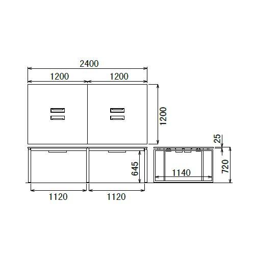 会議用テーブル LPTB-2412 W2400×D1200×H720(mm) ブラックカラー粉体塗装スクエア脚テーブル コードホール付き商品画像4