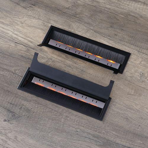 会議用テーブル LPTB-2412 W2400×D1200×H720(mm) ブラックカラー粉体塗装スクエア脚テーブル コードホール付き商品画像6