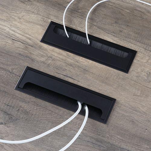 会議用テーブル LPTB-2412 W2400×D1200×H720(mm) ブラックカラー粉体塗装スクエア脚テーブル コードホール付き商品画像7