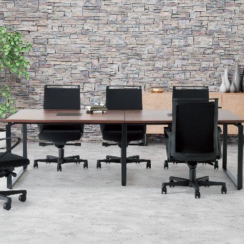 会議用テーブル LPTB-2412 W2400×D1200×H720(mm) ブラックカラー粉体塗装スクエア脚テーブル コードホール付き商品画像9
