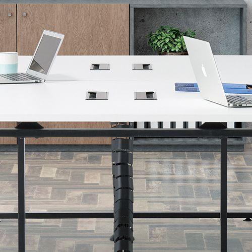 会議用テーブル LPTB-2412 W2400×D1200×H720(mm) ブラックカラー粉体塗装スクエア脚テーブル コードホール付き商品画像10