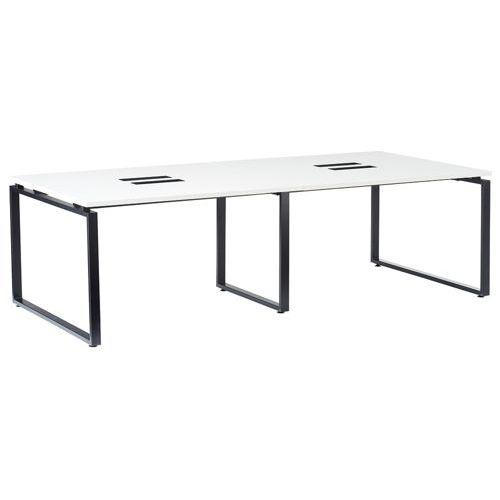 会議用テーブル LPTB-2412 W2400×D1200×H720(mm) ブラックカラー粉体塗装スクエア脚テーブル コードホール付きのメイン画像