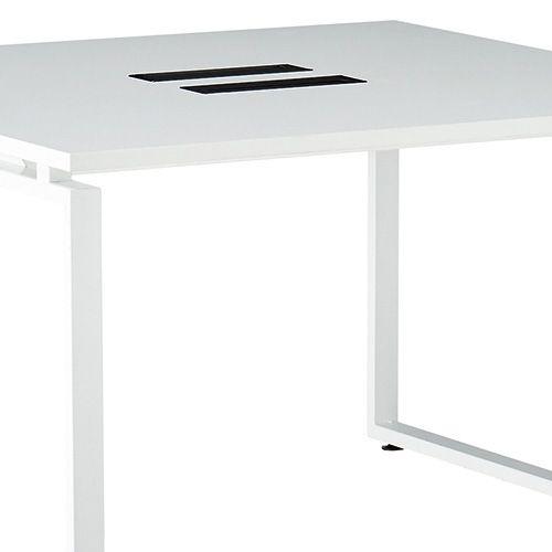会議用テーブル LPTW-1212 W1200×D1200×H720(mm) ホワイトカラー粉体塗装スクエア脚テーブル コードホール付き商品画像9