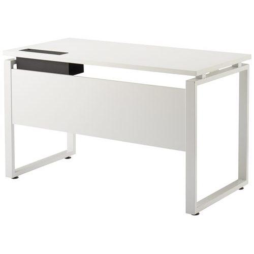 ワークテーブル LPTW-1260 W1200×D600×H720(mm) ホワイトカラー粉体塗装スクエア脚テーブル 幕板付き コードホール付きのメイン画像