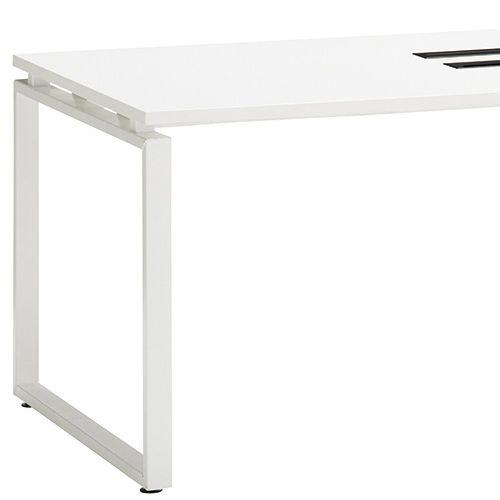 会議用テーブル LPTW-1890 W1800×D900×H720(mm) ホワイトカラー粉体塗装スクエア脚テーブル コードホール付き商品画像6