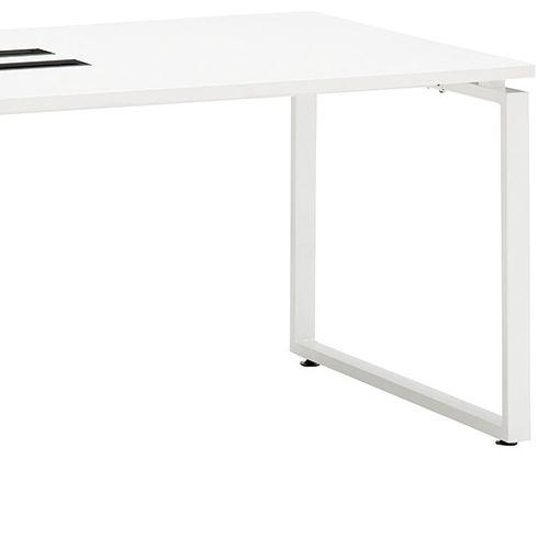 会議用テーブル LPTW-1890 W1800×D900×H720(mm) ホワイトカラー粉体塗装スクエア脚テーブル コードホール付き商品画像7