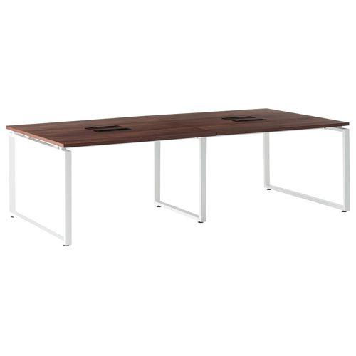 会議用テーブル LPTW-2412 W2400×D1200×H720(mm) ホワイトカラー粉体塗装スクエア脚テーブル コードホール付き商品画像3