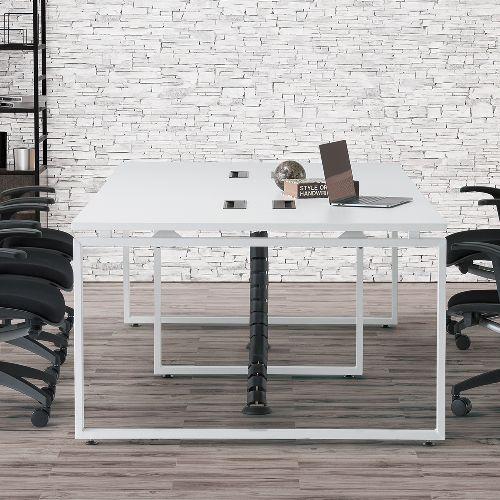 会議用テーブル LPTW-2412 W2400×D1200×H720(mm) ホワイトカラー粉体塗装スクエア脚テーブル コードホール付き商品画像8