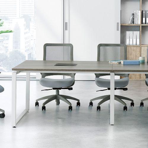 会議用テーブル LPTW-2412 W2400×D1200×H720(mm) ホワイトカラー粉体塗装スクエア脚テーブル コードホール付き商品画像9