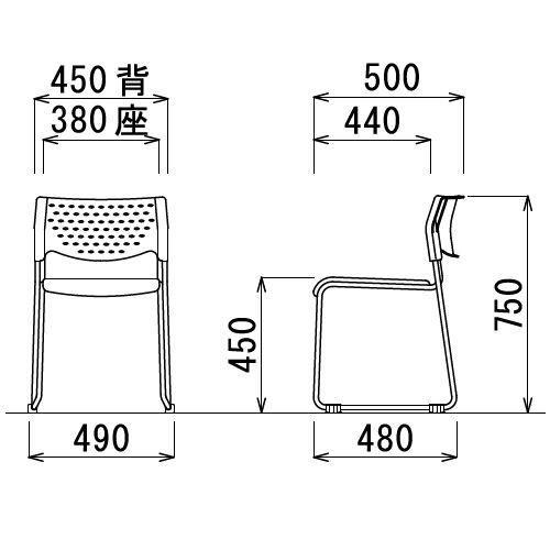スタッキングチェア アイコ MC-101G 連結脚 肘なし 粉体塗装 グレーシェル商品画像5