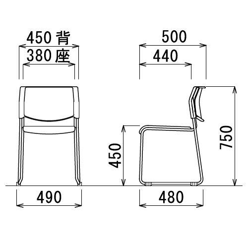 【廃番】スタッキングチェア アイコ MC-103G 連結脚 肘なし 粉体塗装 グレーシェル商品画像7