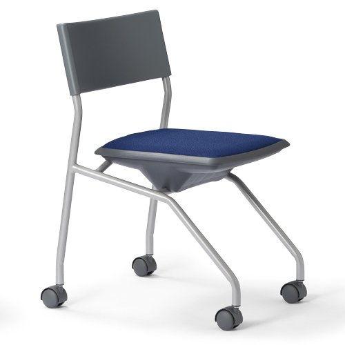 会議椅子 平行スタックチェア 肘なし MC-121G キャスター脚 グレーシェル商品画像2