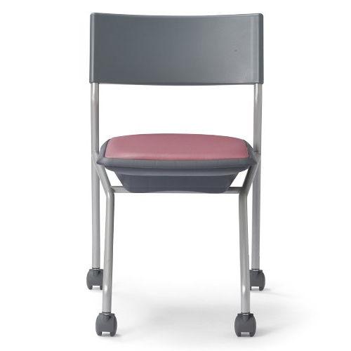 会議椅子 平行スタックチェア 肘なし MC-121G キャスター脚 グレーシェル商品画像3