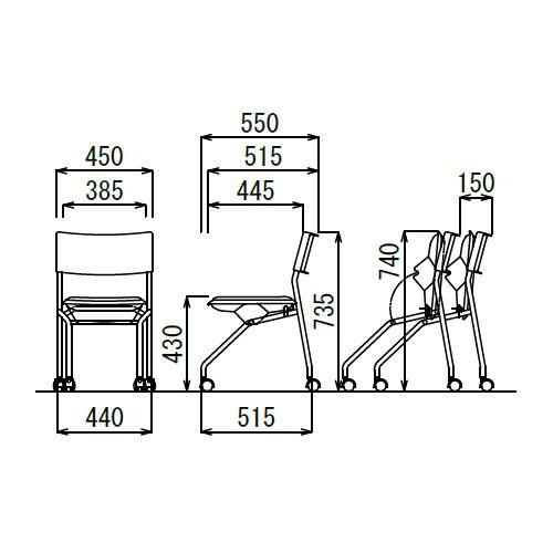 会議椅子 平行スタックチェア 肘なし MC-121G キャスター脚 グレーシェル商品画像5