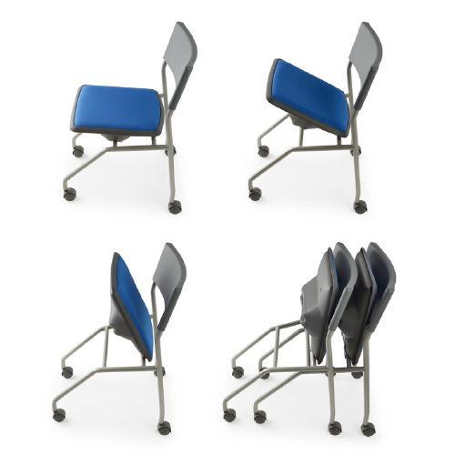 会議椅子 平行スタックチェア 肘なし MC-121G キャスター脚 グレーシェル商品画像6