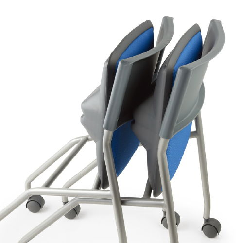 会議椅子 平行スタックチェア 肘なし MC-121G キャスター脚 グレーシェル商品画像7