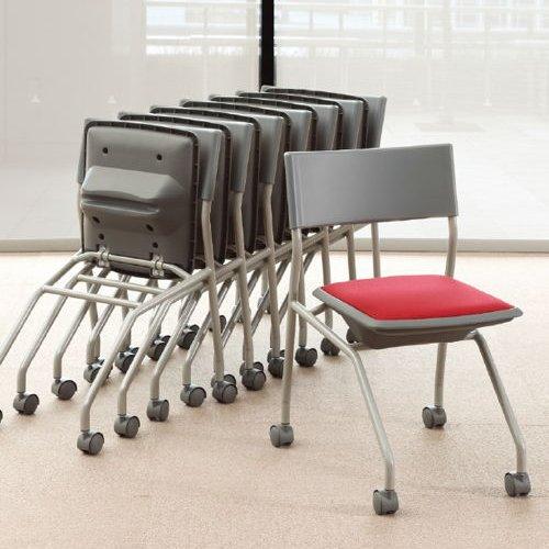 会議椅子 平行スタックチェア 肘なし MC-121G キャスター脚 グレーシェル商品画像8