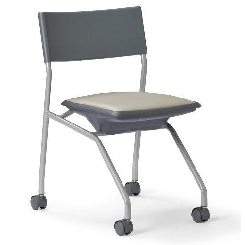 会議椅子 平行スタックチェア 肘なし MC-121G キャスター脚 グレーシェルのメイン画像