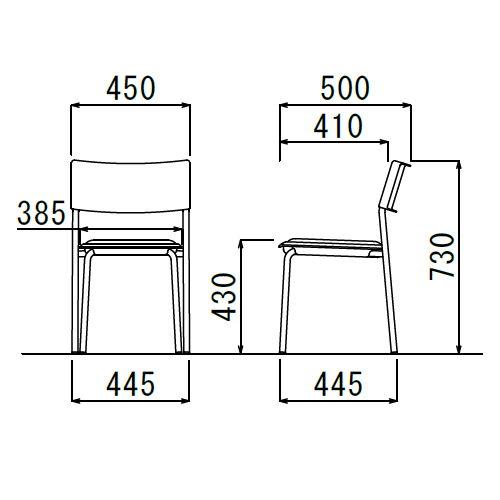会議椅子 スタッキングチェア 肘なし MC-141G 固定脚 グレーシェル商品画像6
