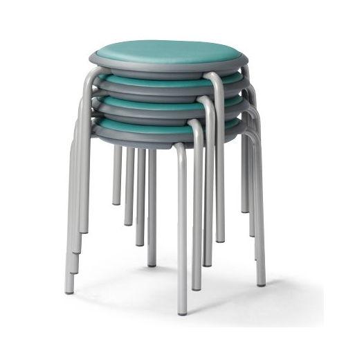 会議椅子 スツール(丸椅子) 背なし スタッキングチェア MC-150G 固定脚 グレーシェル商品画像2
