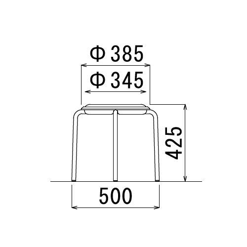 スツール(丸椅子) アイコ 背なし スタッキングチェア MC-150W 固定脚 ホワイトシェル商品画像5