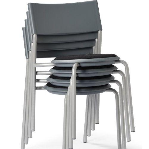 会議椅子 スツール(丸椅子) 背付き スタッキングチェア MC-151G 固定脚 グレーシェル商品画像3