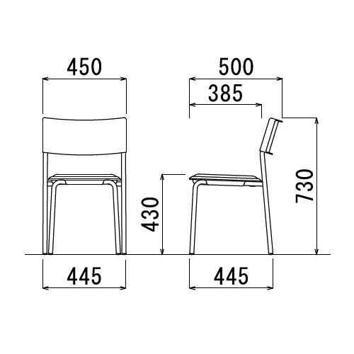 スツール(丸椅子) アイコ 背付き スタッキングチェア MC-151G 固定脚 グレーシェル商品画像5
