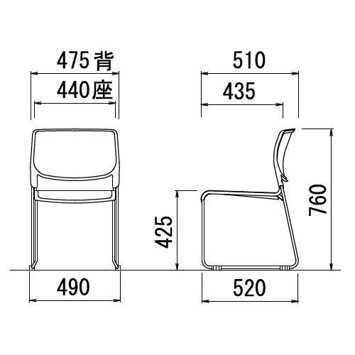 会議椅子 スタッキングチェア MC-163 連結脚 肘なし 粉体塗装商品画像5