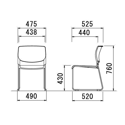 スタッキングチェア MC-183BB 連結ループ脚 肘なし ブラック塗装 ブラックシェル商品画像6