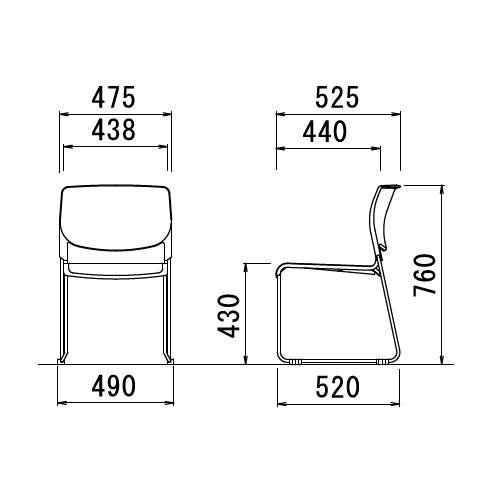 スタッキングチェア アイコ MC-183W 連結脚 肘なし クロームメッキ ホワイトシェル商品画像7