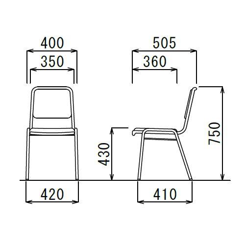 スタッキングチェア アイコ MC-2000 固定脚 クロームメッキ 肘なし商品画像5