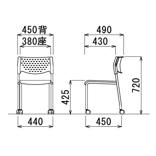 スタッキングチェア MC-221B キャスター脚 肘なし ブラック粉体塗装 ブラックシェル商品画像3