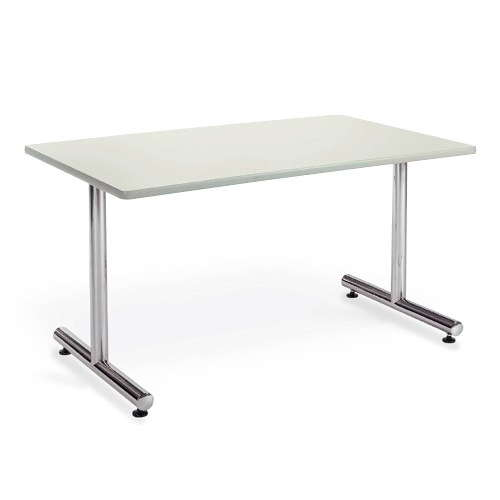 テーブル(会議用) アイコ 2本固定脚 MT-1275K W1200×D750×H700(mm) 角形天板 クロームメッキのメイン画像