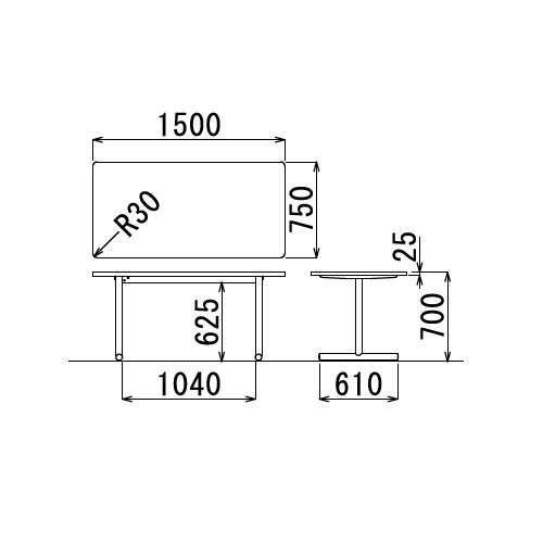 テーブル(会議用) アイコ 2本固定脚 MT-1575K W1500×D750×H700(mm) 角形天板 クロームメッキ商品画像3