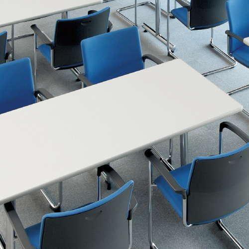 テーブル(会議用) アイコ 2本固定脚 MT-1575K W1500×D750×H700(mm) 角形天板 クロームメッキ商品画像4