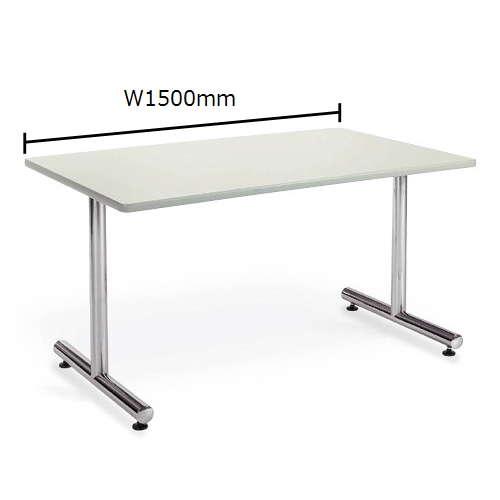 テーブル(会議用) アイコ 2本固定脚 MT-1575K W1500×D750×H700(mm) 角形天板 クロームメッキのメイン画像