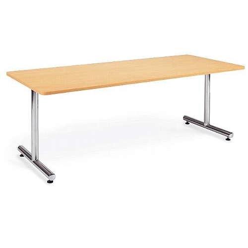テーブル(会議用) アイコ 2本固定脚 MT-1875K W1800×D750×H700(mm) 角形天板 クロームメッキのメイン画像