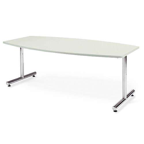 会議用テーブル アイコ 2本固定脚 MT-1890B W1800×D900×H700(mm) ボート形(舟形)天板 クロームメッキのメイン画像