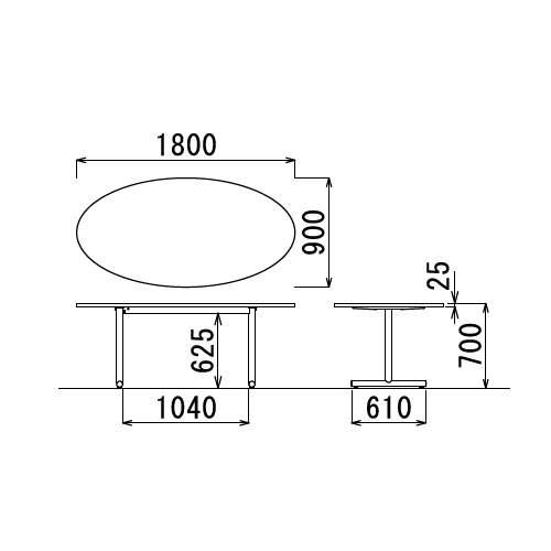 【廃番】会議用テーブル 2本固定脚 MT-1890E W1800×D900×H700(mm) タマゴ形(卵形)天板 クロームメッキ商品画像3