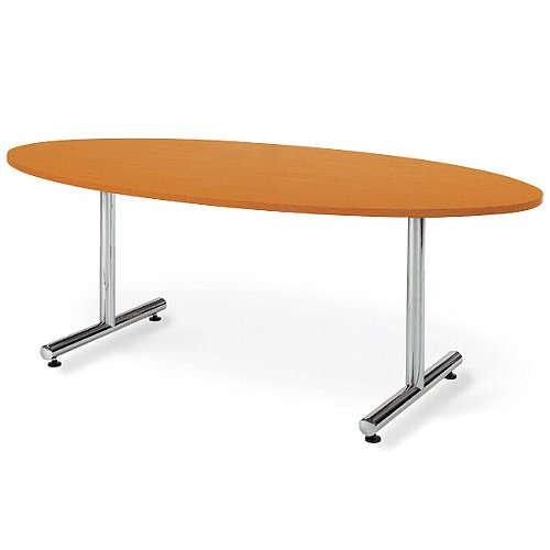 【廃番】会議用テーブル 2本固定脚 MT-1890E W1800×D900×H700(mm) タマゴ形(卵形)天板 クロームメッキのメイン画像