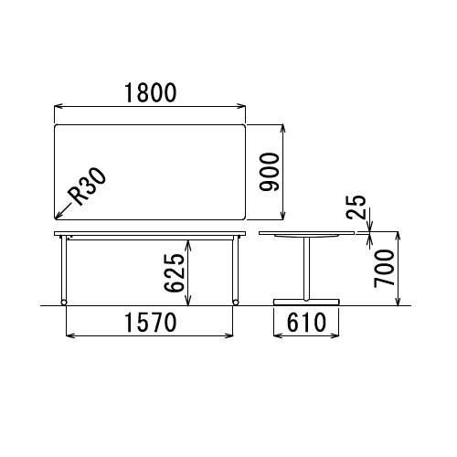 テーブル(会議用) アイコ 2本固定脚 MT-1890K W1800×D900×H700(mm) 角形天板 クロームメッキ商品画像3