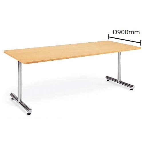 テーブル(会議用) アイコ 2本固定脚 MT-1890K W1800×D900×H700(mm) 角形天板 クロームメッキのメイン画像