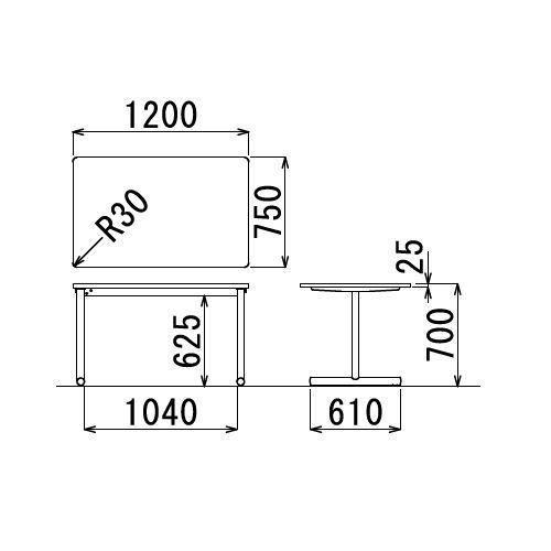 会議用テーブル 2本T字脚テーブル MTB-1275 W1200×D750×H700(mm) ブラックカラー脚商品画像2