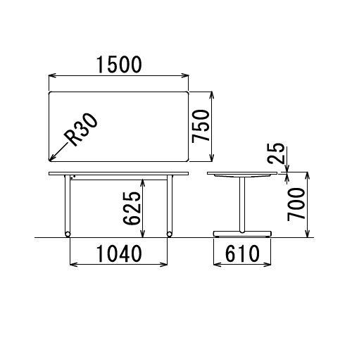 会議用テーブル 2本T字脚テーブル MTB-1575 W1500×D750×H700(mm) ブラックカラー脚商品画像2
