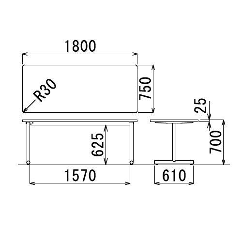 会議用テーブル 2本T字脚テーブル MTB-1875 W1800×D750×H700(mm) ブラックカラー脚商品画像2