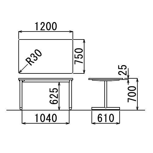 会議用テーブル 2本T字脚テーブル MTS-1275 W1200×D750×H700(mm) シルバーカラー脚商品画像2