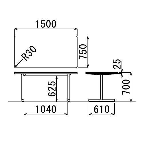 会議用テーブル 2本T字脚テーブル MTS-1575 W1500×D750×H700(mm) シルバーカラー脚商品画像2